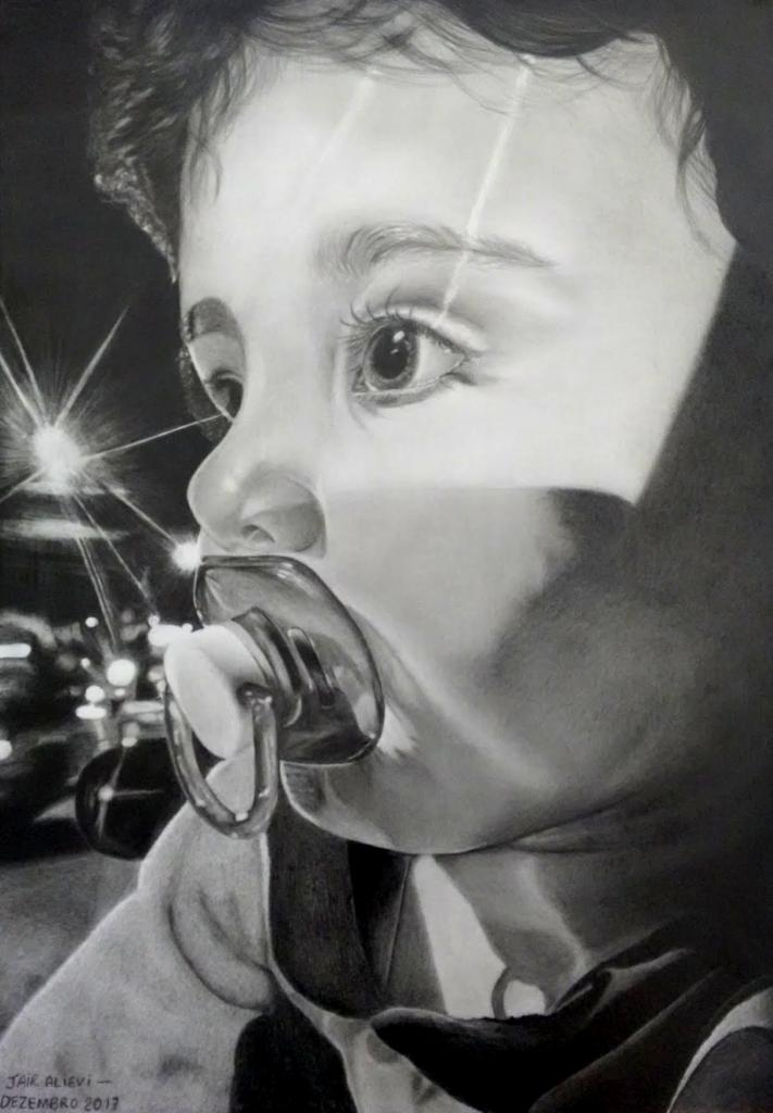 Desenho realista em grafite do Lucas B Alievi por Jair Alievi