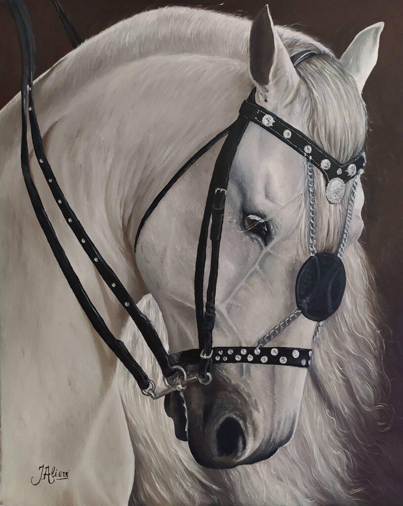 Pintura de um cavalo branco pelo artista plástico Jair Alievi