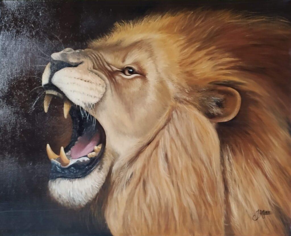 Quadro de leão - pintura óleo sobre tela por Jair Alievi